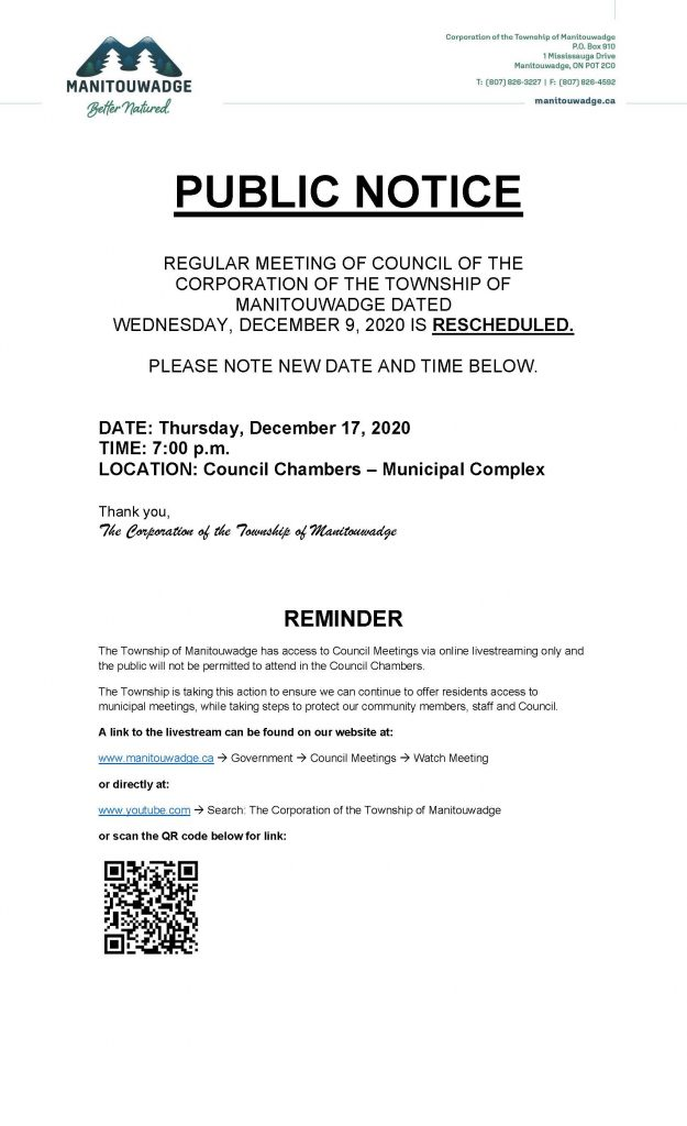 Public Notice Meeting Date Changed
