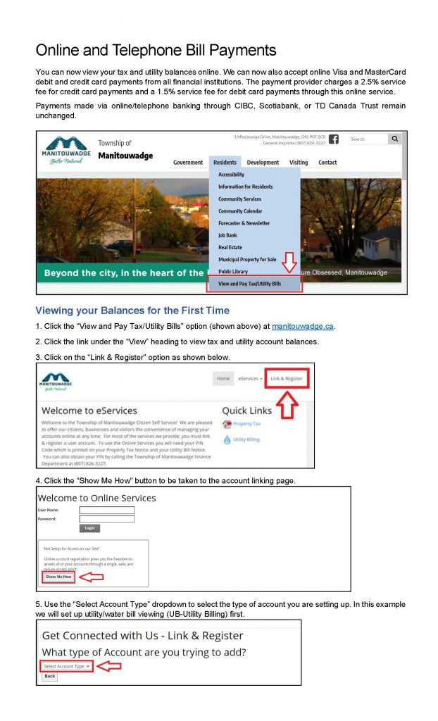 Poster for how to make view and pay tax or utility bills online