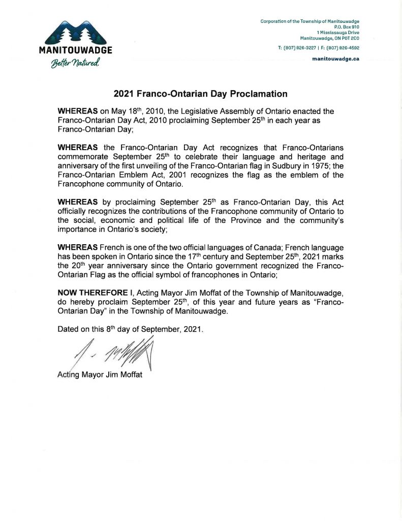 Franco-Ontarian Day Proclamation announcement signed by Acting Mayor Jim Moffat