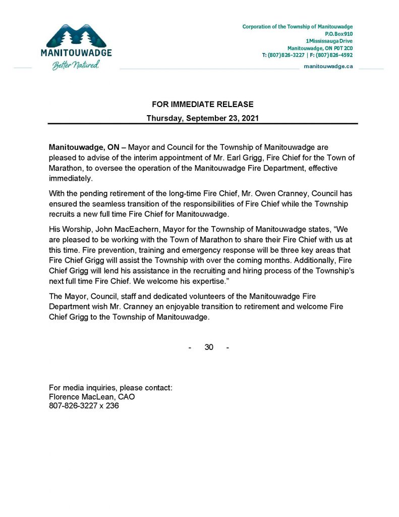 News release for Interim Fire Chief appointment for the Township of Manitouwadge